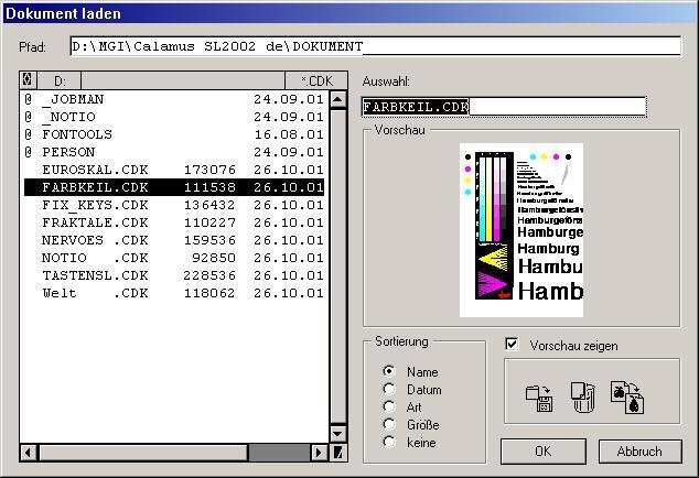 Calamus-Dateiauswahl