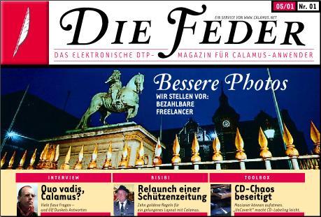 Die Feder: Titelseite der Erstausgabe 05-2001